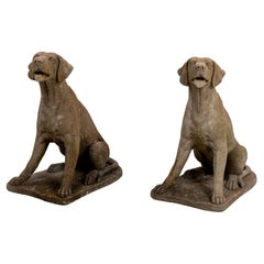 Pair of Cement Hound Statues