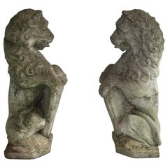 Pair of Cement Lions Standing with a Shield, French, circa 1950