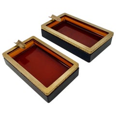 Pair of Cenedese Murano Glass Amber Ashtrays with Gilt Border in Relief