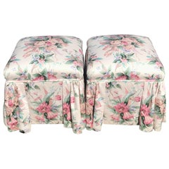 Pair of Century Floral Footstools
