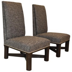 Pair of Century Furniture Parson Side Chairs Nail Head Trim