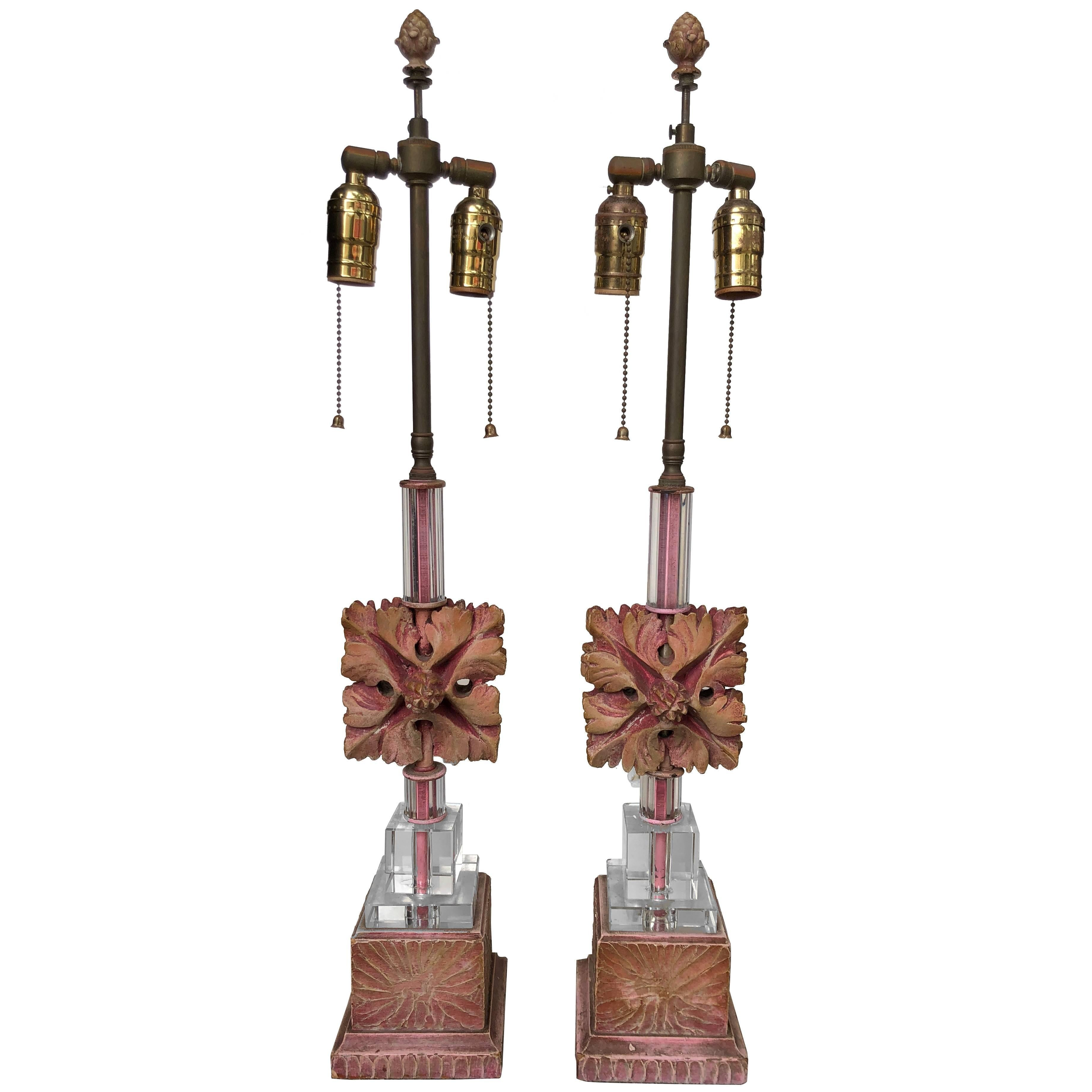 Pair of Ceramic and Glass Table Lamps