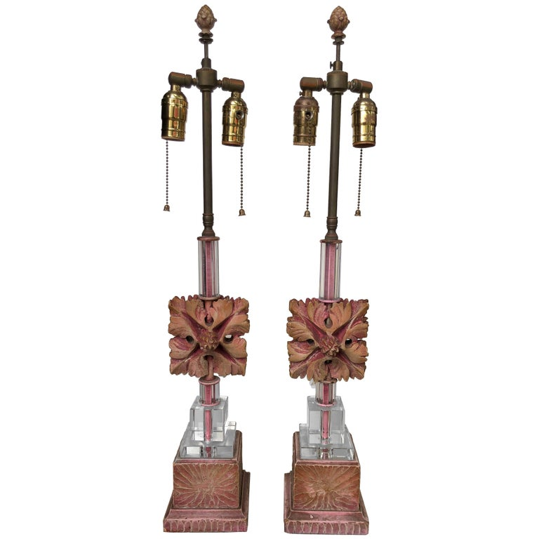Pair of Ceramic and Glass Table Lamps For Sale
