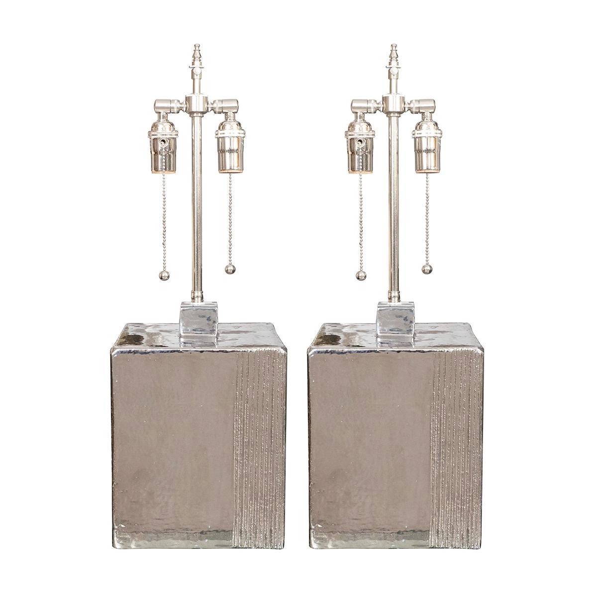 Pair of Ceramic Block Lamps with Metallic Finish