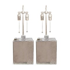 Pair of Ceramic Block Lamps with Metallic Finish