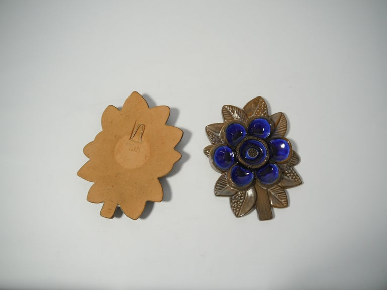 Scandinavian Modern Pair of Ceramic Blue Flower Wall Plaque by Irma Yourstone for Upsala Ekeby For Sale