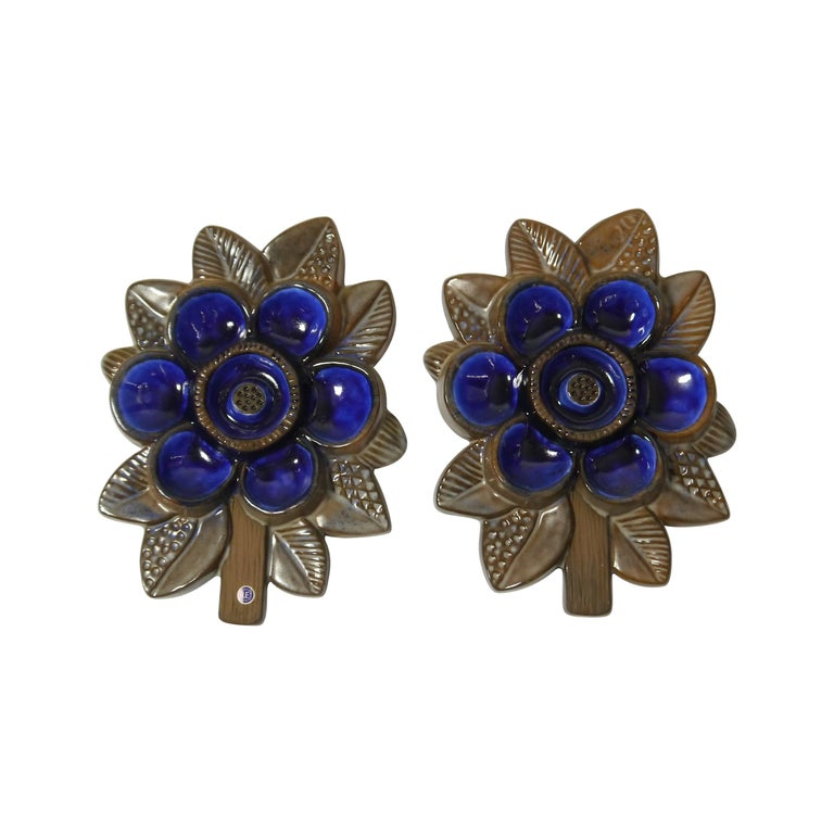 Pair of Ceramic Blue Flower Wall Plaque by Irma Yourstone for Upsala Ekeby For Sale