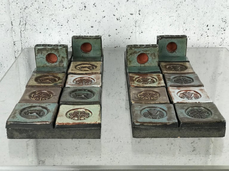 Pair of Ceramic Candle Wall Sconces by Lizzie Thyssen for Illums Bolighus For Sale 6