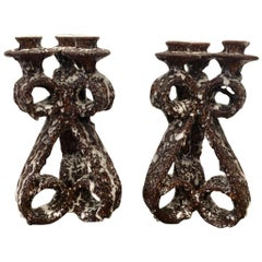 Pair of Ceramic Candlesticks by Marius Giuge for Vallauris, France, circa 1950s
