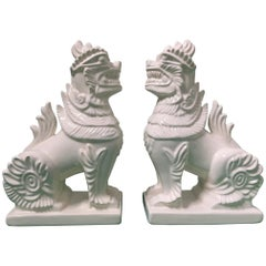 Pair of Ceramic Chinese Foo Dogs Bookends