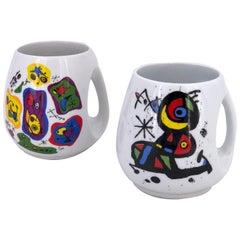 Pair of Ceramic Coffee Mugs by Joan Miro Barcelona, Spain