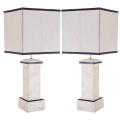 Pair of Ceramic Column-Shaped Table Lamps