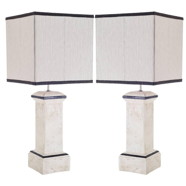 Pair of Table Lamps Column-Shaped in Ceramic  For Sale