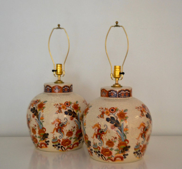 American Pair of Ceramic Crackle Glazed Jar Form Table Lamps For Sale