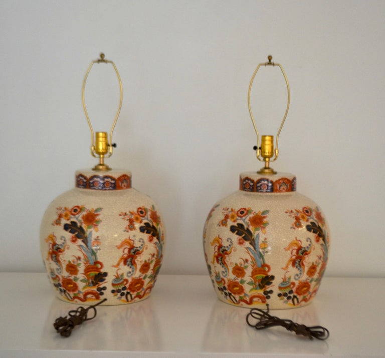 Pair of Ceramic Crackle Glazed Jar Form Table Lamps In Excellent Condition For Sale In West Palm Beach, FL