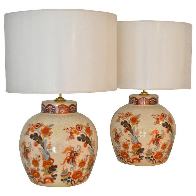 Pair of Ceramic Crackle Glazed Jar Form Table Lamps For Sale 2