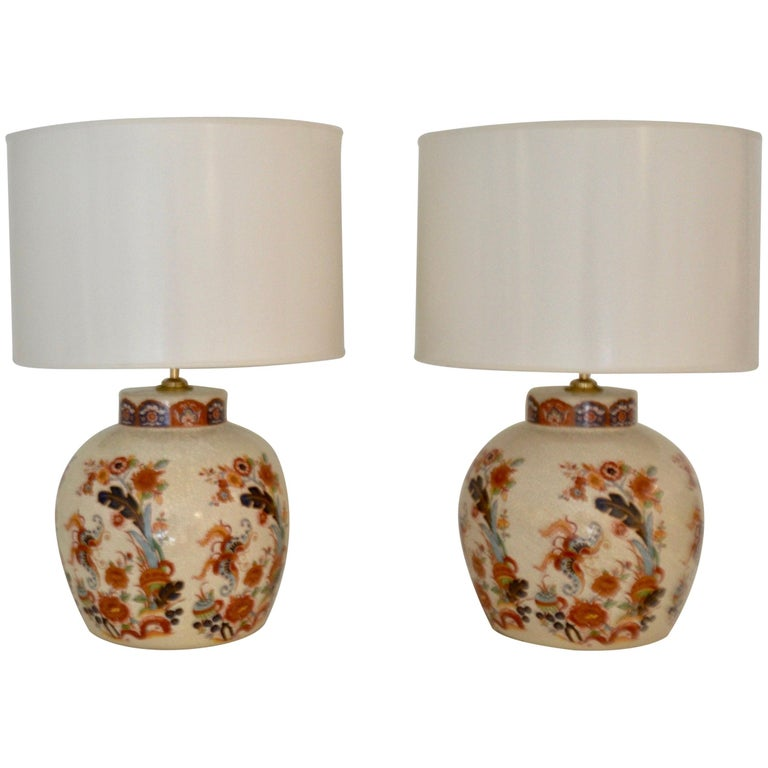 Pair of Ceramic Crackle Glazed Jar Form Table Lamps For Sale