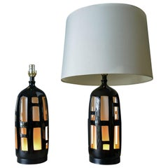 Pair of Ceramic Cut Out Lamps with Dual Illumination, circa 1970