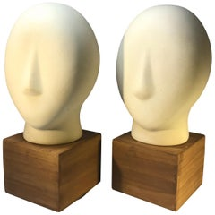 Pair of Ceramic Cycladic Sculptures Midcentury 1960s Retro