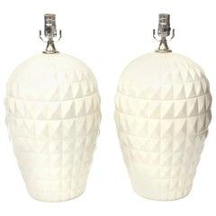 Pair of Ceramic Geometric Lamps Italian Vintage