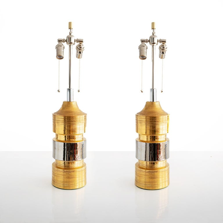 Mid-Century Modern Pair of Ceramic Gold and Silver Glazed Lamps from Bitossi for Bergboms, Sweden For Sale