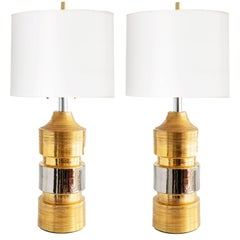 Pair of Ceramic Gold and Silver Glazed Lamps from Bitossi for Bergboms, Sweden