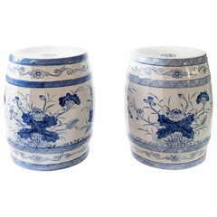 Pair of Ceramic Hand Painted Chinese Garden Stools