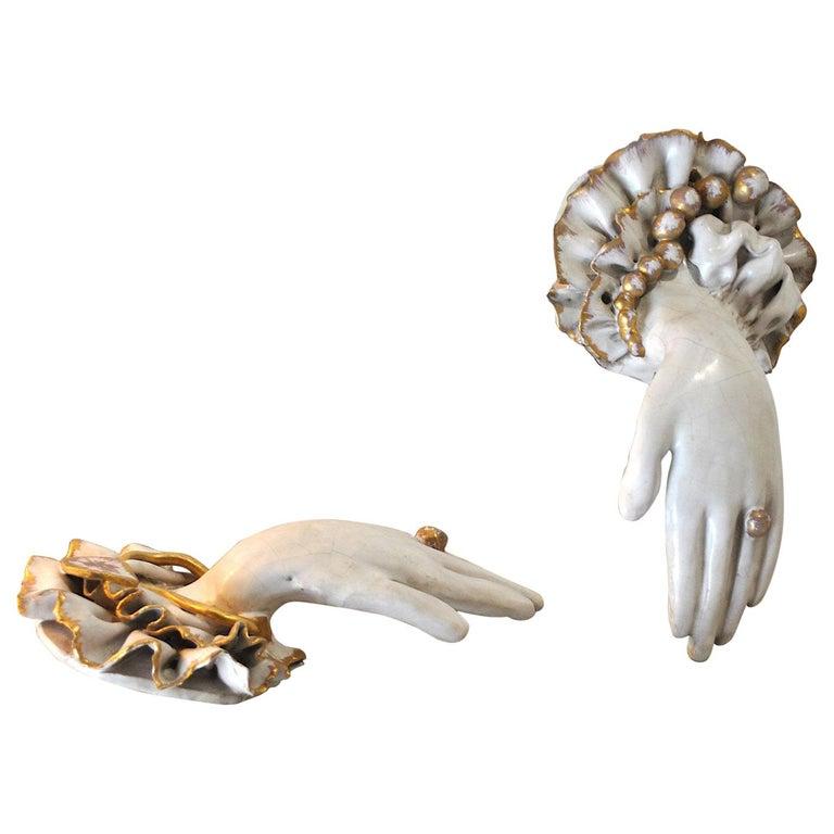 Pair of Ceramic Hands 1920s in Art Deco For Sale
