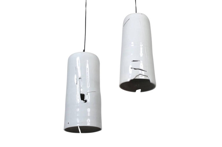 Mid-Century Modern Pair of Ceramic Hanging Pendants by D. Williams For Sale