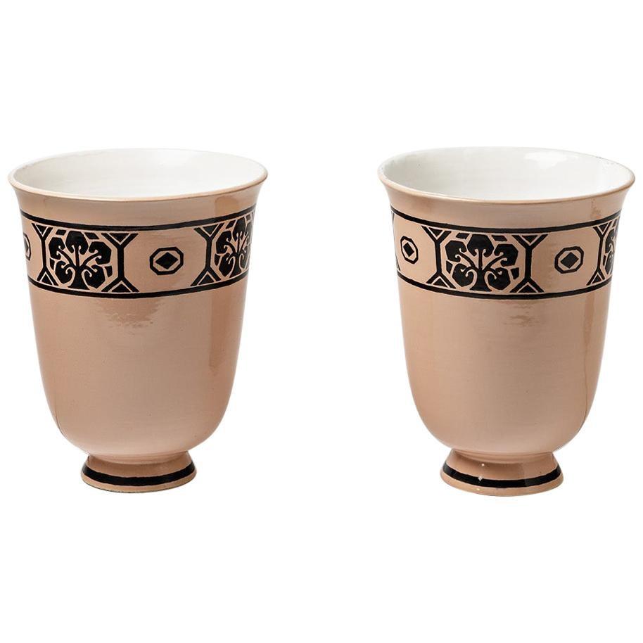 Pair of Ceramic Lamps Attributed to Jean Luce, circa 1930, Art Deco Period