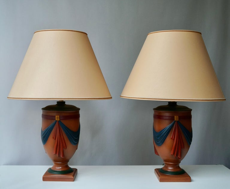 Pair of Ceramic Lamps by Louis Drimmer, France For Sale 3