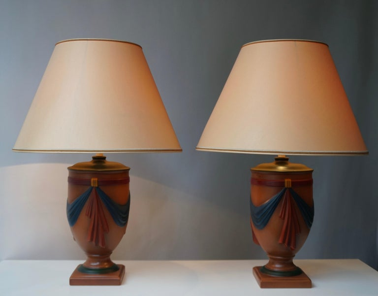 Pair of Ceramic Lamps by Louis Drimmer, France For Sale 4