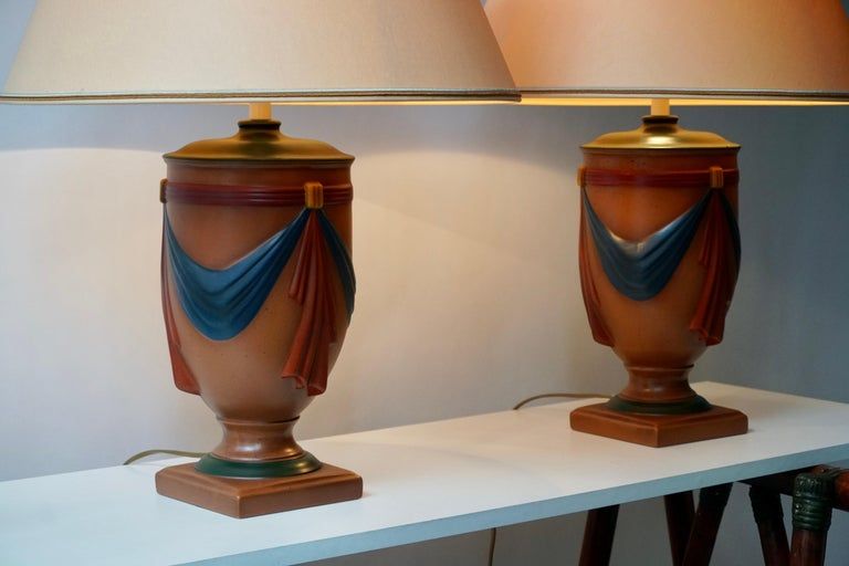 Pair of Ceramic Lamps by Louis Drimmer, France For Sale 5