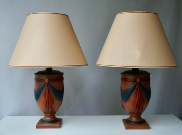 Pair of Ceramic Lamps by Louis Drimmer, France For Sale 8
