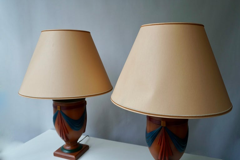 Pair of Ceramic Lamps by Louis Drimmer, France For Sale 9
