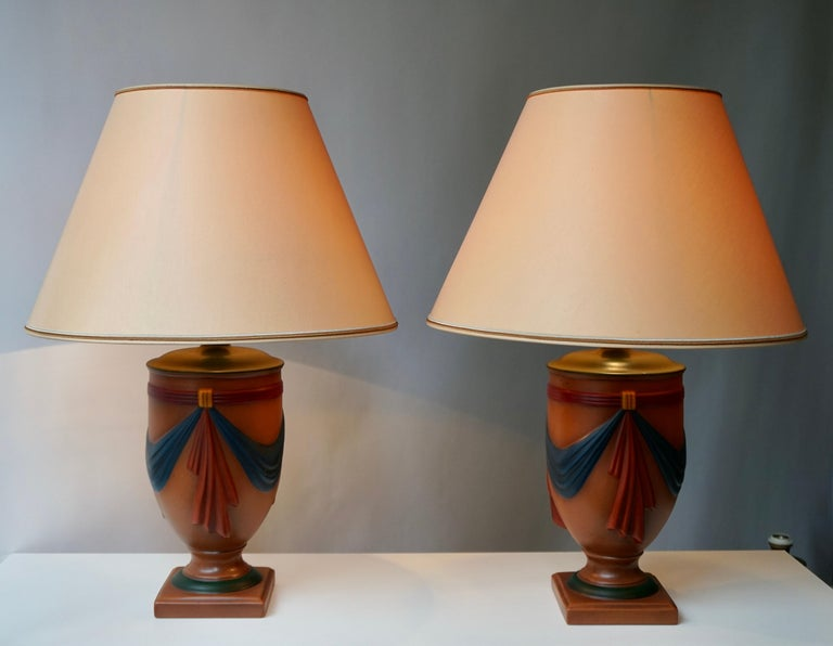 Hollywood Regency Pair of Ceramic Lamps by Louis Drimmer, France For Sale