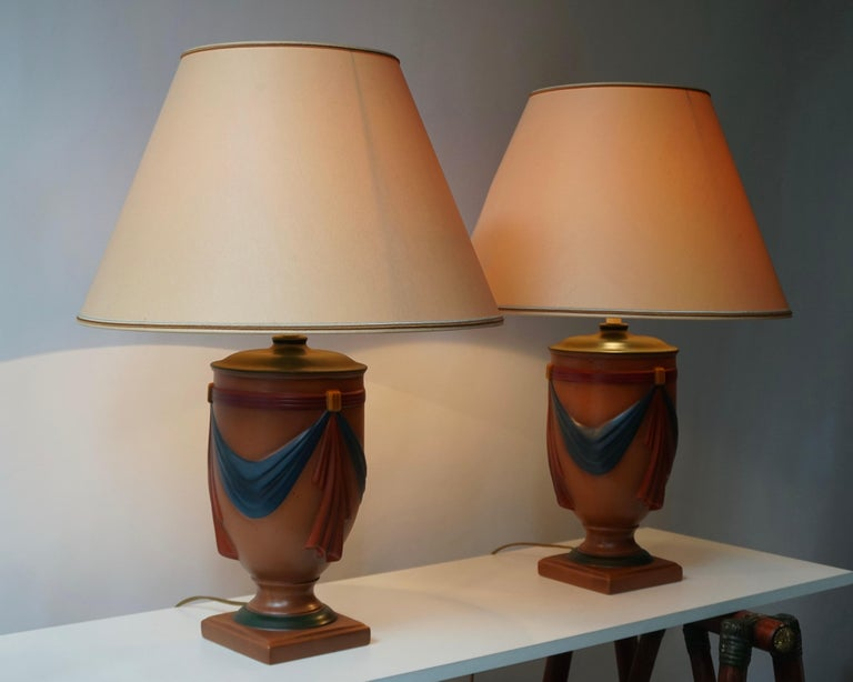 French Pair of Ceramic Lamps by Louis Drimmer, France For Sale