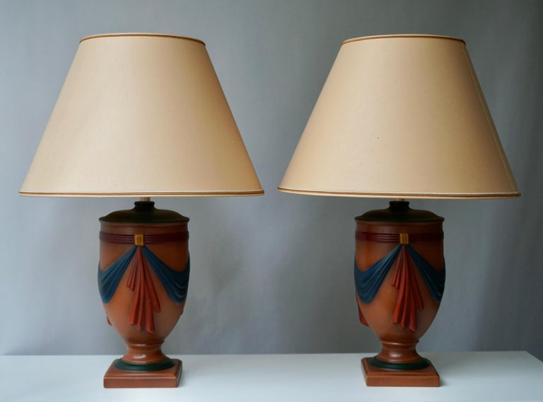 Hand-Painted Pair of Ceramic Lamps by Louis Drimmer, France For Sale