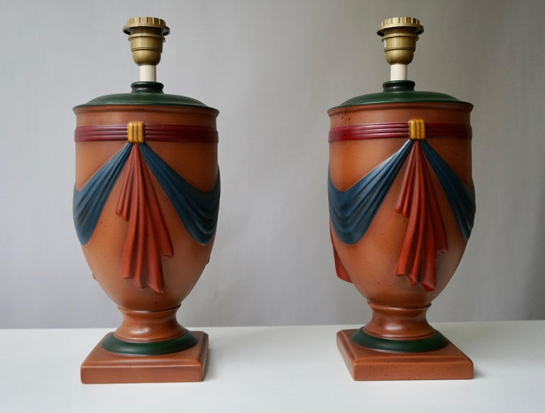 Pair of Ceramic Lamps by Louis Drimmer, France In Good Condition For Sale In Antwerp, BE