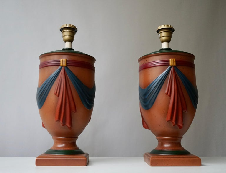 20th Century Pair of Ceramic Lamps by Louis Drimmer, France For Sale