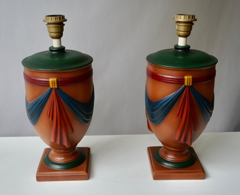 Pair of Ceramic Lamps by Louis Drimmer, France For Sale 1