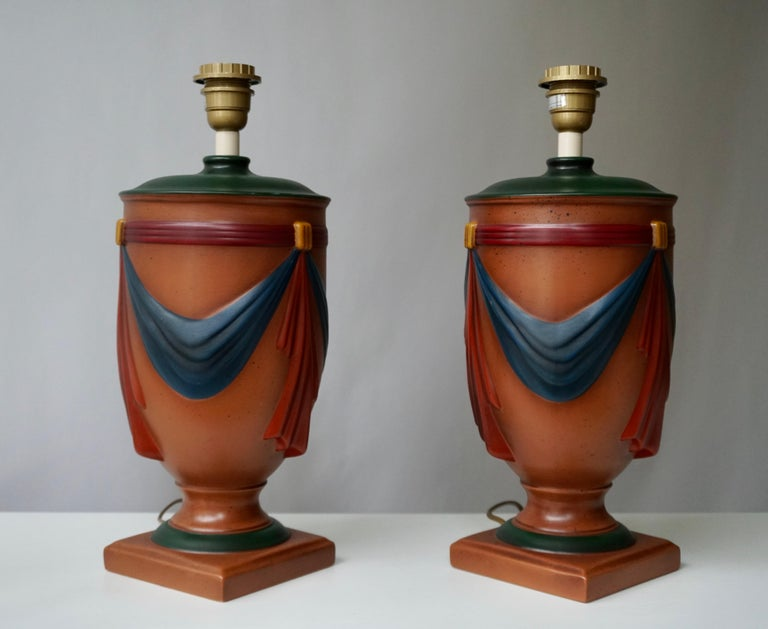 Pair of Ceramic Lamps by Louis Drimmer, France For Sale 2