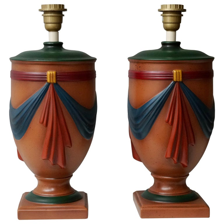 Pair of Ceramic Lamps by Louis Drimmer, France For Sale
