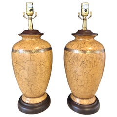 Pair of Ceramic Lamps with Gold Trim and Crackle Finish Wooden Base Bottom