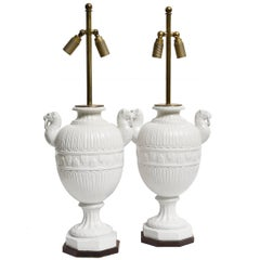 Pair of Ceramic Lamps with Lion's Heads