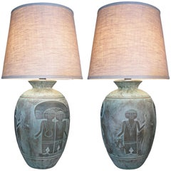 Pair of Ceramic 'Mayan' Lamps by Casual Lamps of California
