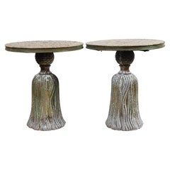 Pair of Ceramic Mosaic Tile Top Tassel Tables
