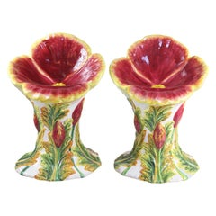 Pair of Ceramic Painted Flower Stools