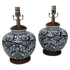 Pair of Ceramic Porcelain & Walnut Ginger Jar Table Lamps by Ralph Lauren