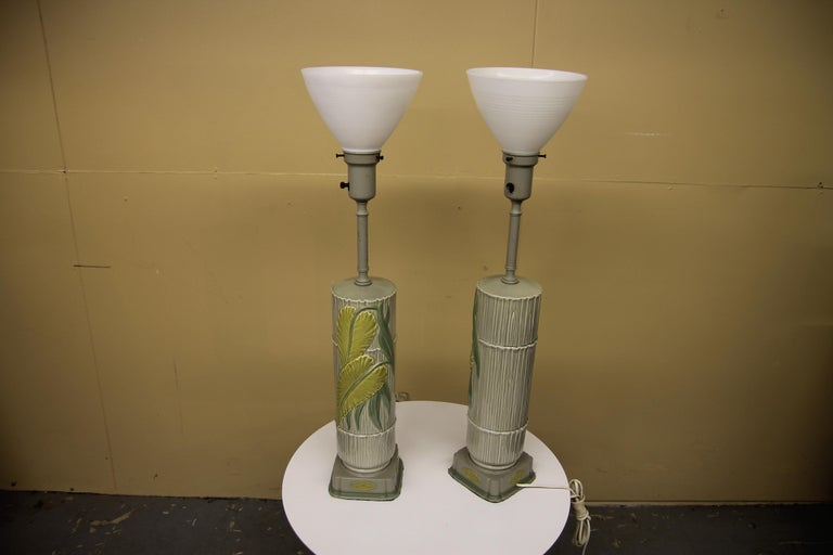 Mid-20th Century Pair of Ceramic Rembrandt Table Lamps For Sale